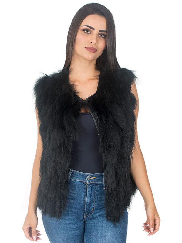 Colete Feminino Pele de Raccoon cor Preto em Tiras - REF-CO-0086
