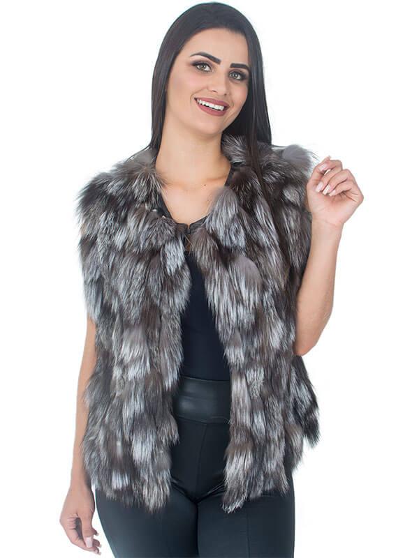 Colete Pele de Raposa Silver Fox em Tiras - REF-CO-0085