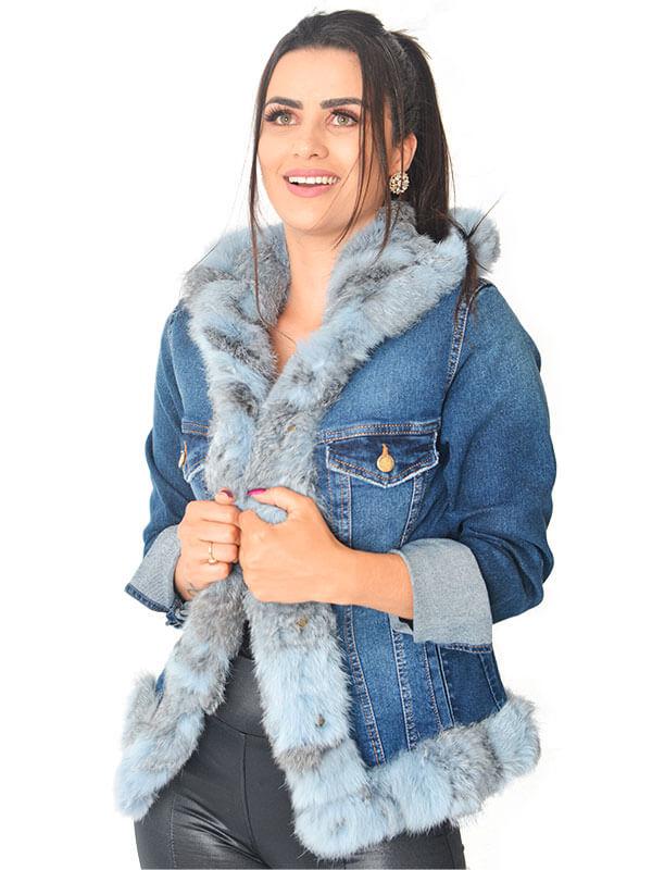 Jaqueta Jeans com Detalhes em Patchwork de Pele de Coelho Chinchila Tingido Azul - REF-JA-0139
