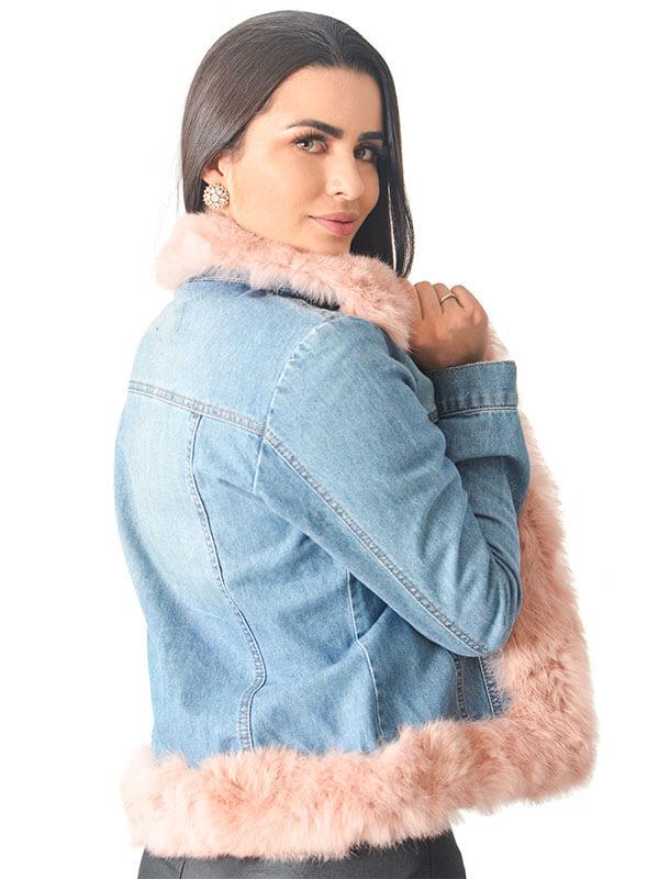 Jaqueta Jeans com Detalhes em Pele de Coelho Rosê - REF-JA-0138