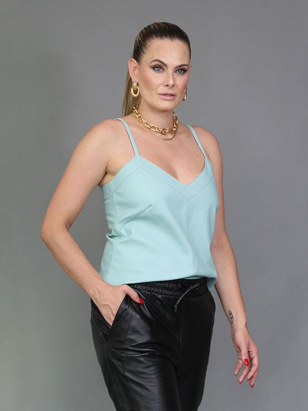 Regata Couro Mestiço Cor Tífani - REF-RE-0218