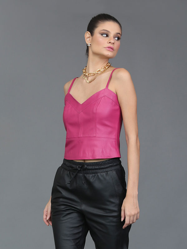Regata Cropped Couro Mestiço Cor Pink - REF-RE-0244