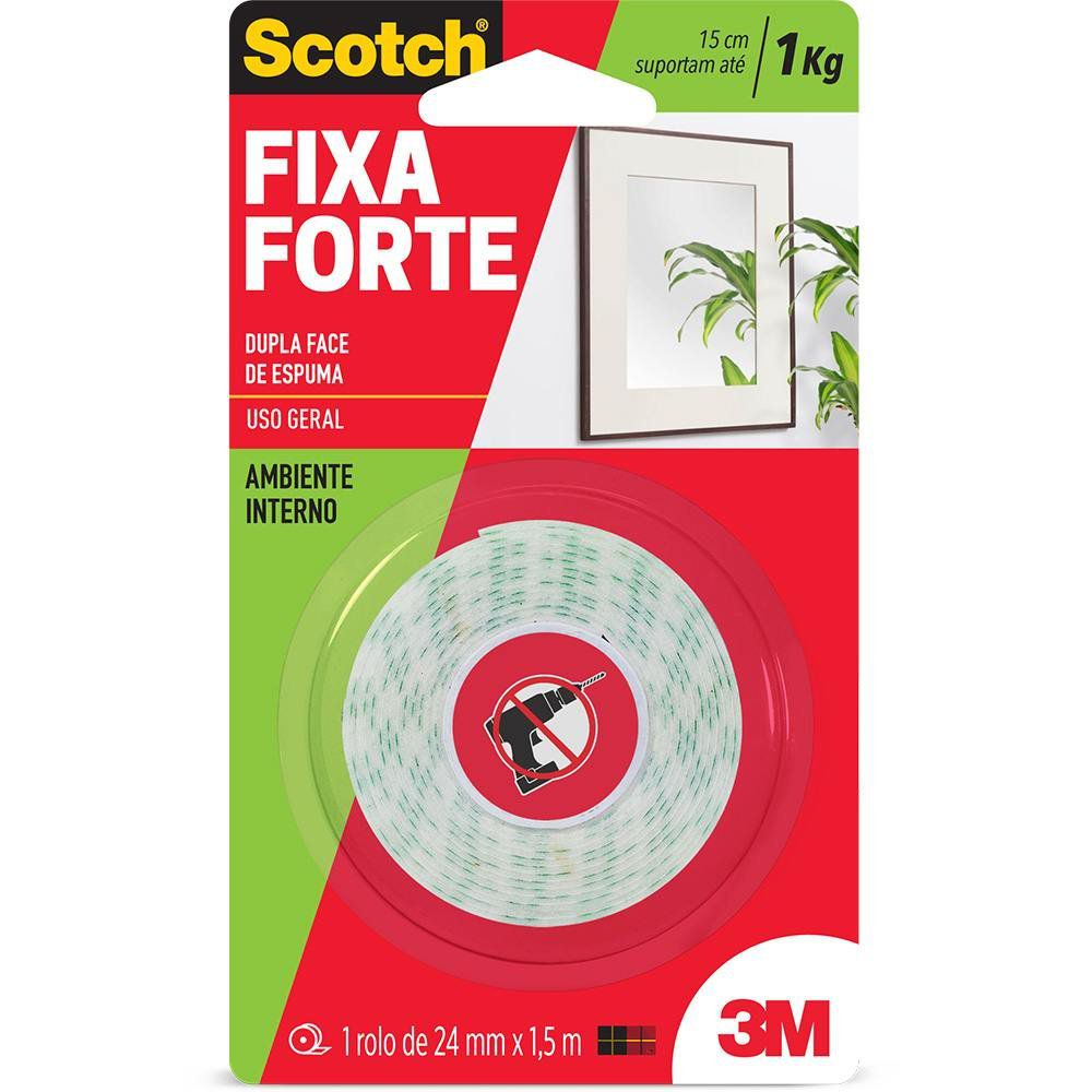 Fita adesiva dupla face espuma Fixa Forte 24mmx1,5m Scotch 3M BT 1 UN Supplypack
