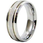 Aliança De Namoro Recartilhada Aço Inox C/ 2 Filetes De Ouro 6mm (Unidade)