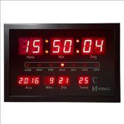 Relógio de Parede Herweg Digital Led Preto Com Calendário e Termômetro 6289 034