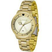 Relógio Lince Feminino Dourado Coração Analógico LRG4572L C1KX