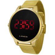 Relógio Lince Masculino Digital Dourado Redondo MDG4586L PXKX