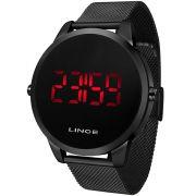Relógio Lince Masculino Digital Led Preto Redondo MDN4586L PXPX