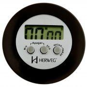 Timer Herweg Digital Preto Redondo 3308 034 Alarme e Imã Traseiro