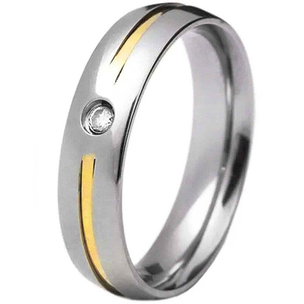 Aliança De Namoro Em Aço Inox 1 Filete De Ouro 5mm C/ Pedra Zircônia 2mm (Unidade)