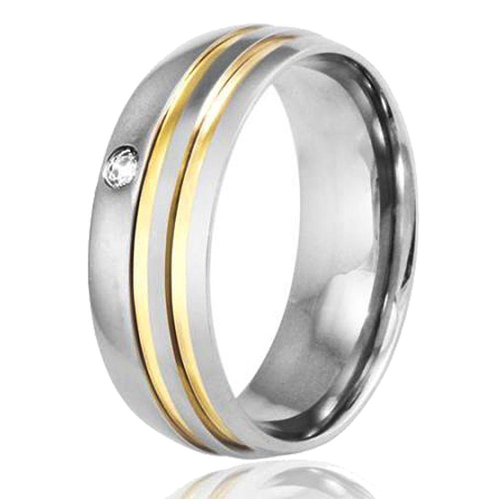 Aliança De Namoro Em Aço Inox 7 mm 2 Fios Ouro C/ Pedra Zircônia 2mm (Unidade)