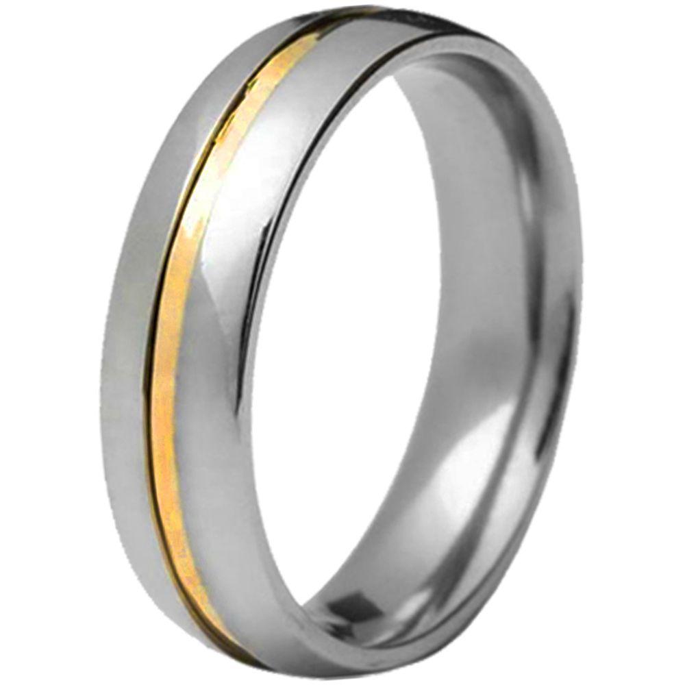Aliança De Namoro Em Aço Inox C/ 1 Filete De Ouro Central (Unidade)