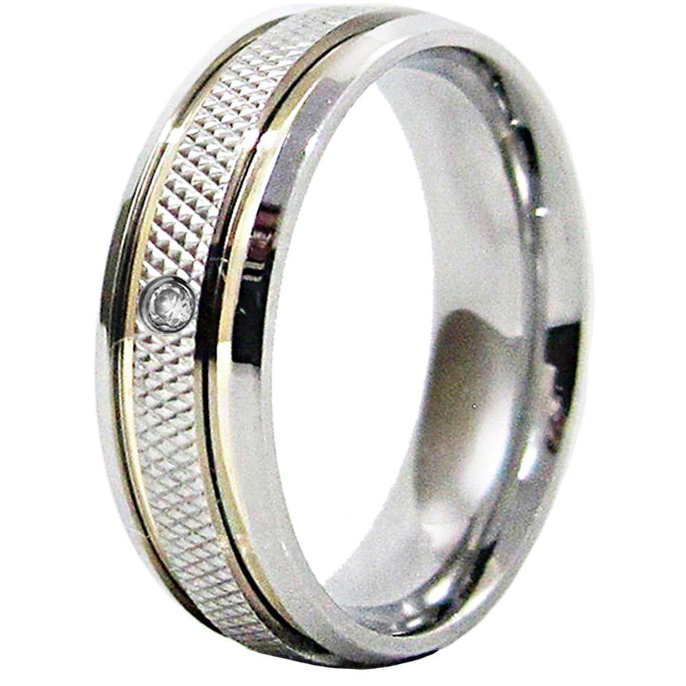 Aliança De Namoro Recartilhada Aço Inox 2 Filetes De Ouro 6mm C/ Pedra Zircônia 2mm (Unidade)
