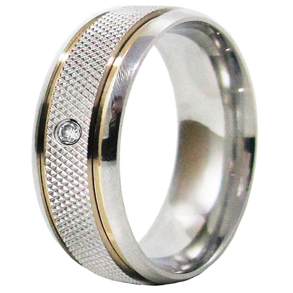 Aliança De Namoro Recartilhada Aço Inox 2 Filetes De Ouro 8mm C/ Pedra Zircônia 2mm (Unidade)