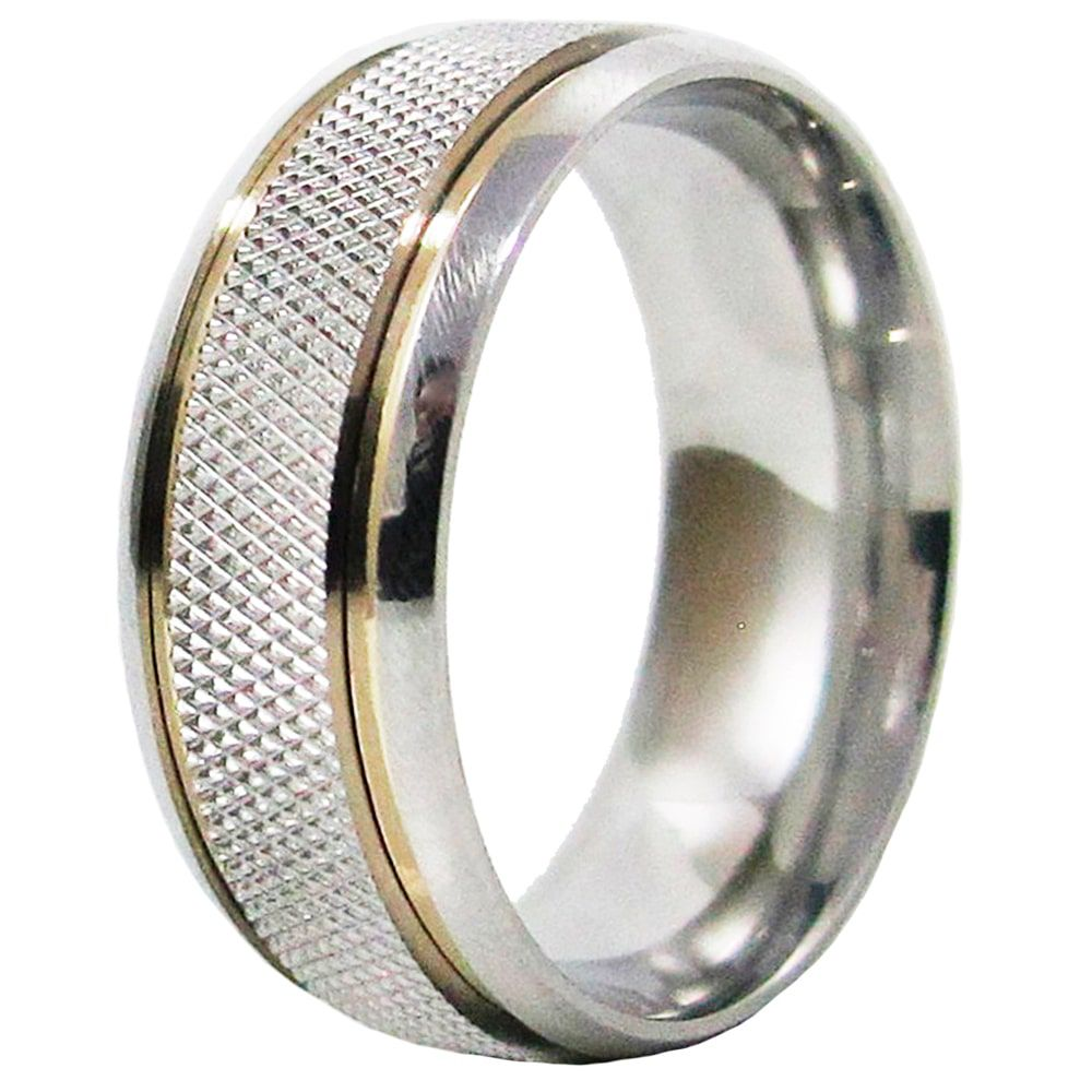 Aliança De Namoro Recartilhada Aço Inox C/ 2 Filetes De Ouro 8mm (Unidade)
