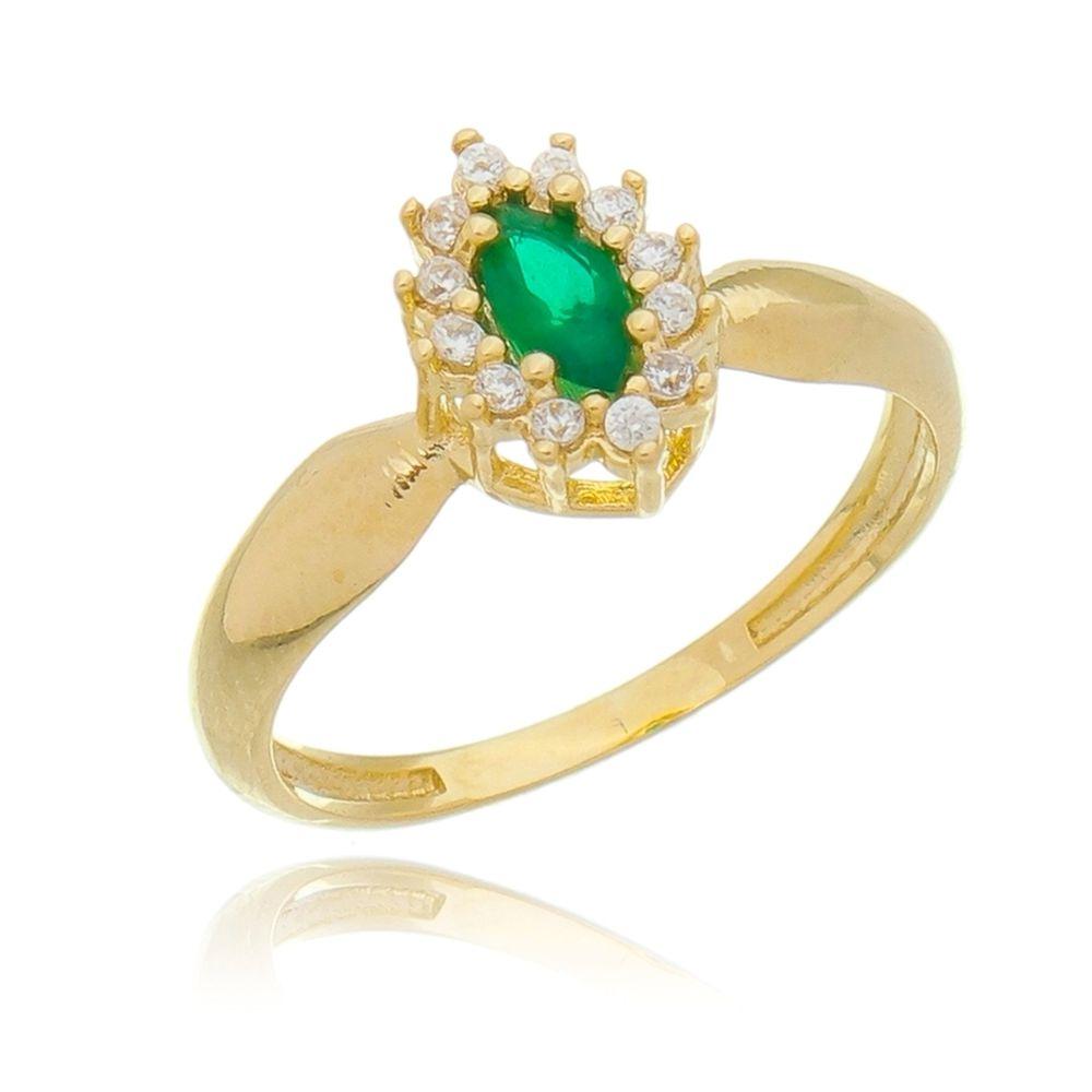 Anel Chuveiro de Ouro Banhado 18k Feminino Verde e Zircônias