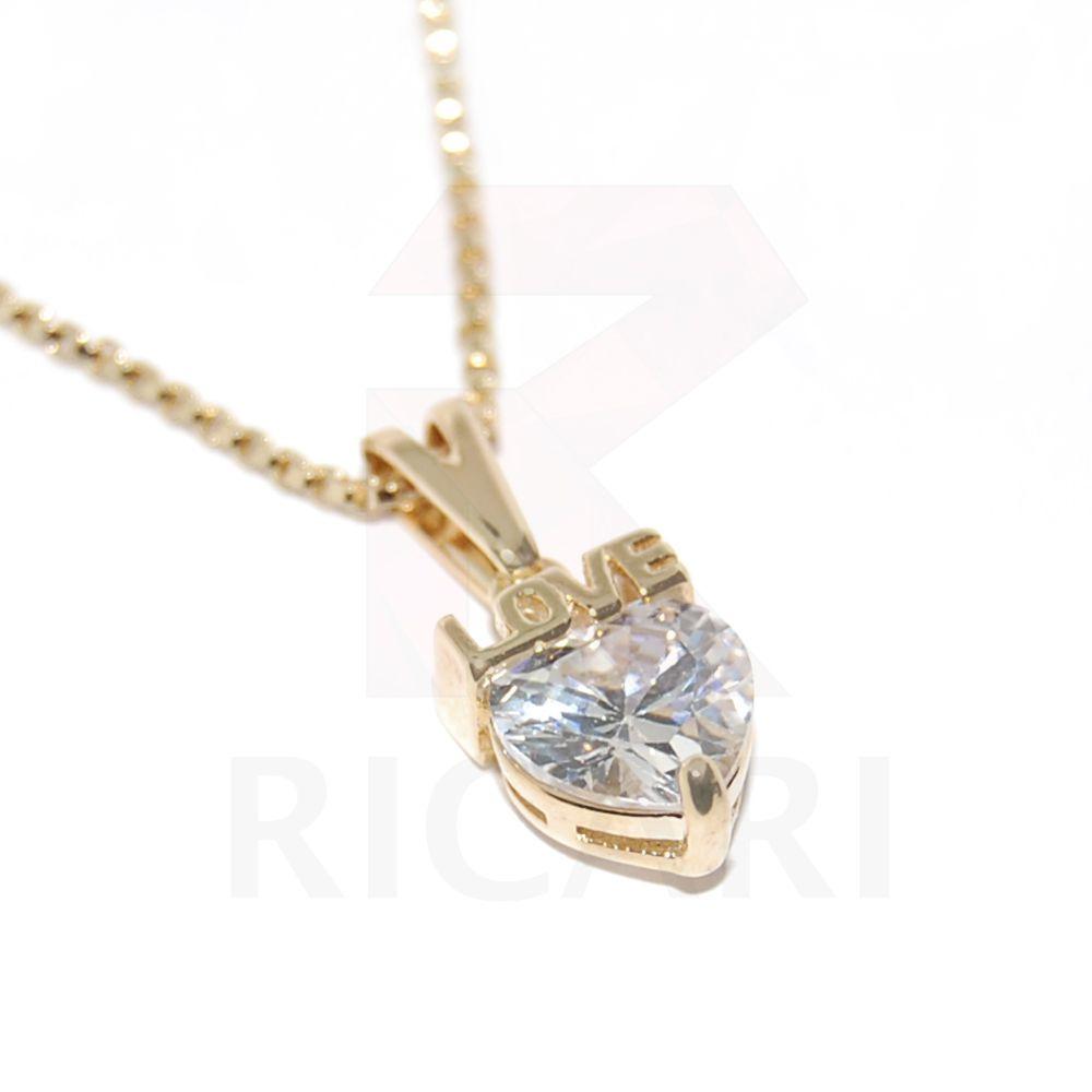 Colar de Coração Feminino Banhada a Ouro 18k Com Pingente Love