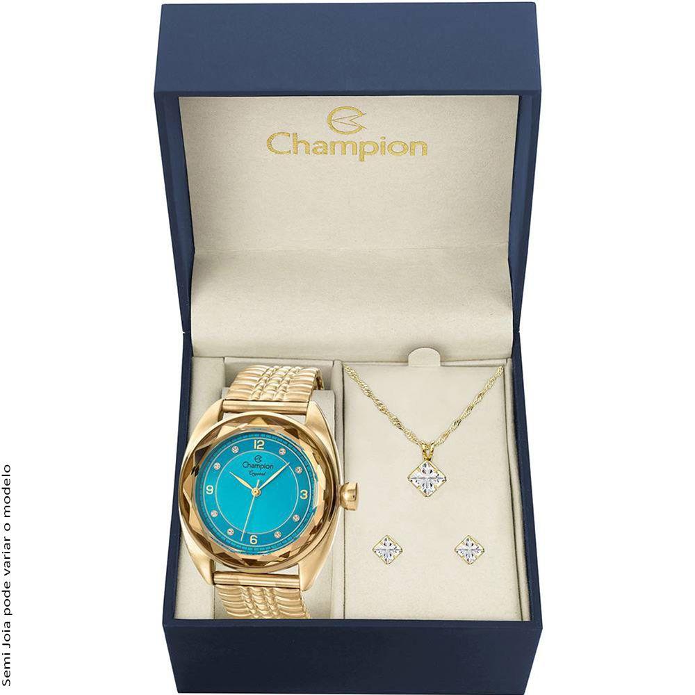 Kit Relógio Champion Feminino Azul Brincos e Colar CN27858Y