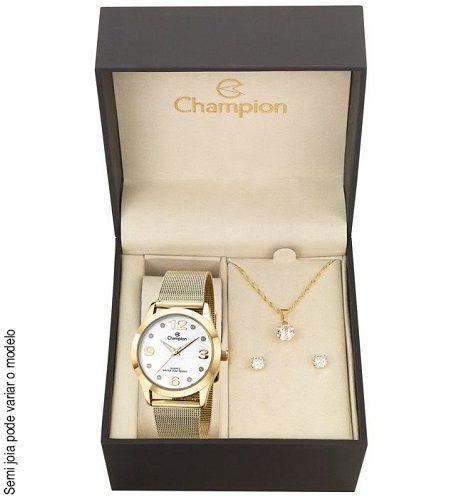 Kit Relógio Champion Feminino Colar e Brincos CN29098W