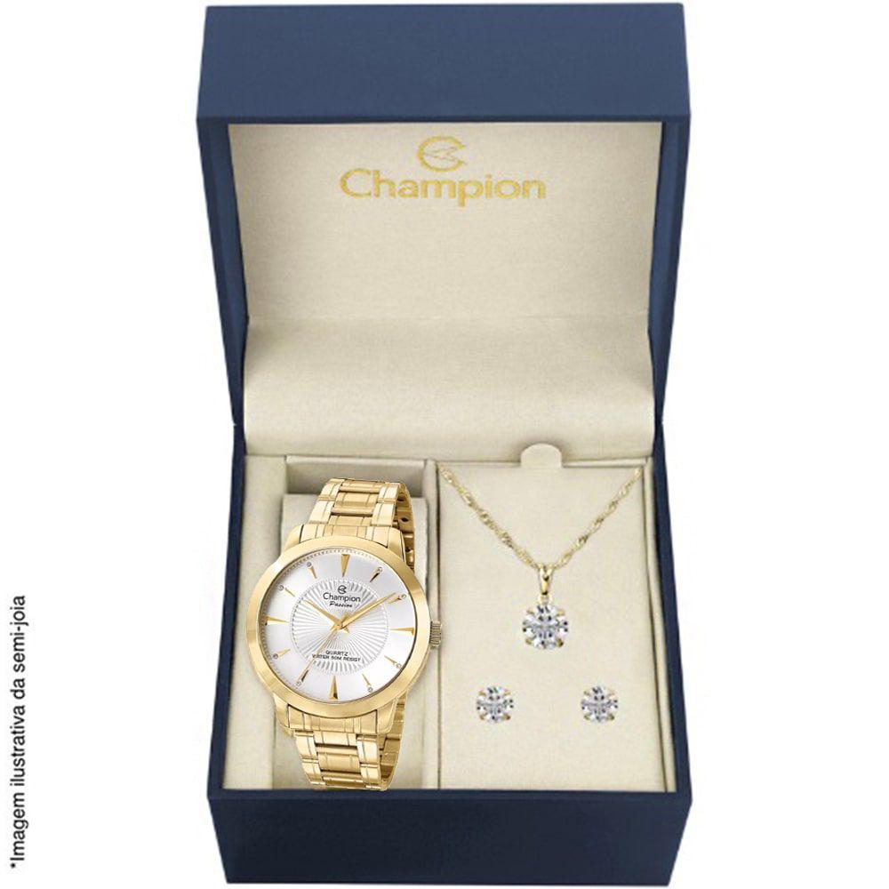 Kit Relógio Champion Feminino Dourado CN29258C + Colar e Brincos