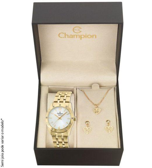 Kit Relógio Champion Feminino Elegance Dourado CN27349W