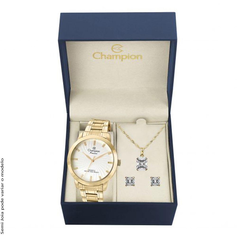 Kit Relógio Champion Feminino Passion Dourado CN29276B