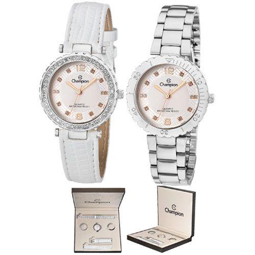 Kit Relógio Champion Feminino Troca Pulseira e Aro CN29203Q