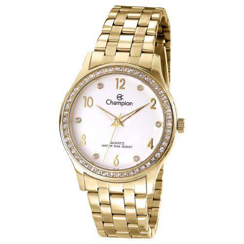 Relógio Champion Feminino Dourado C/ Strass CN28982H