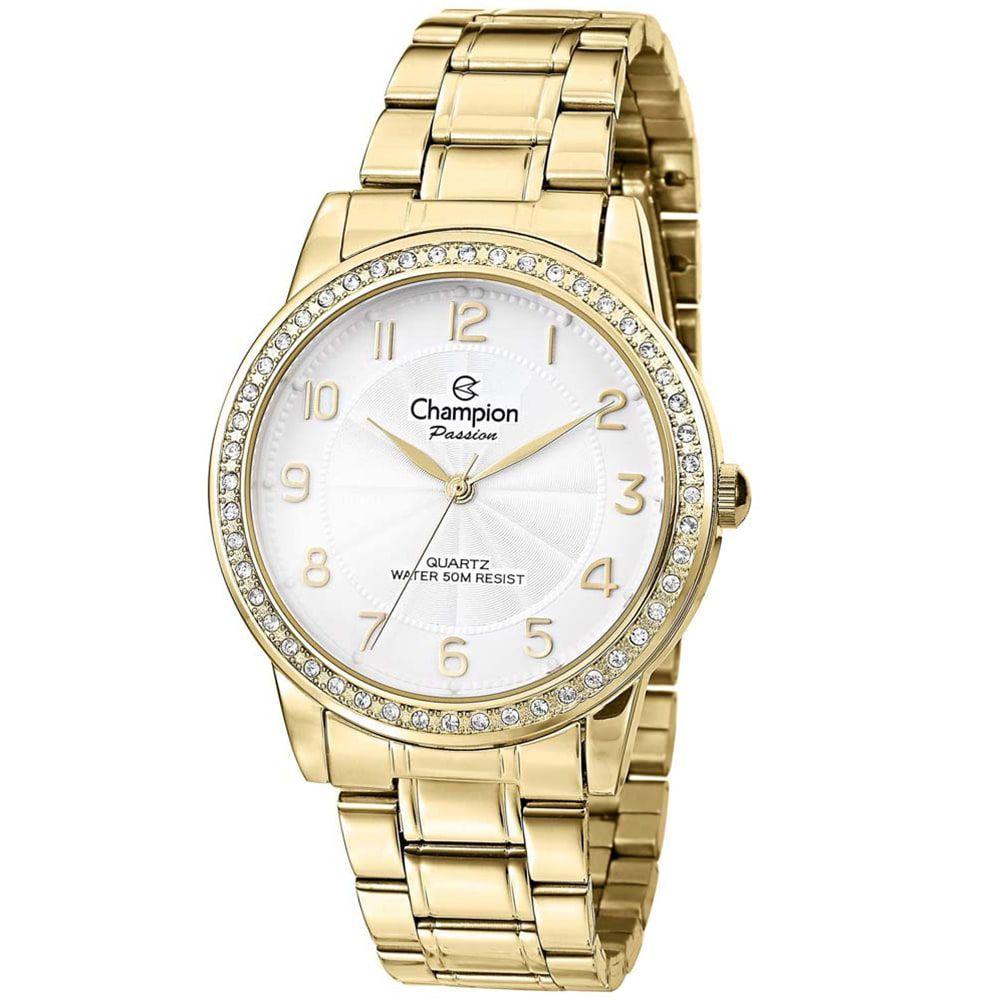 Relógio Champion Feminino Dourado Com Strass CN28679H