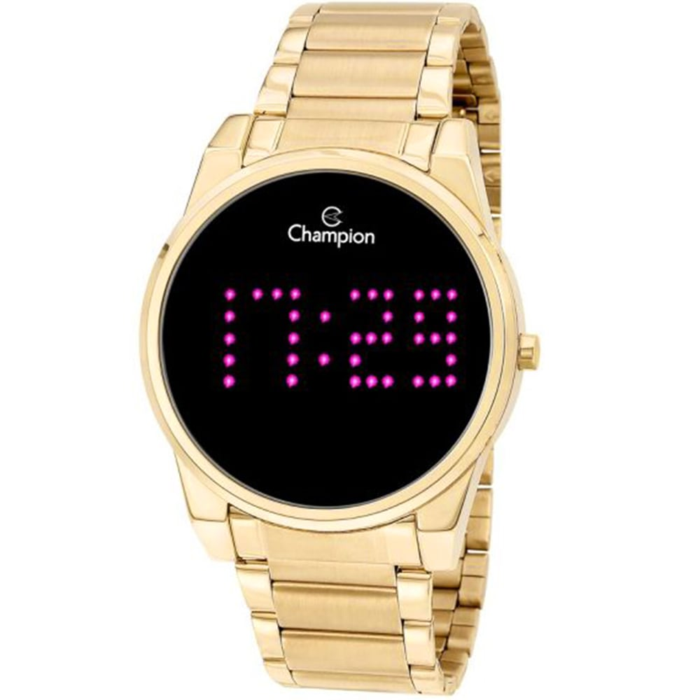 Relógio Champion Feminino Digital Led Dourado e Rosa CH40053H