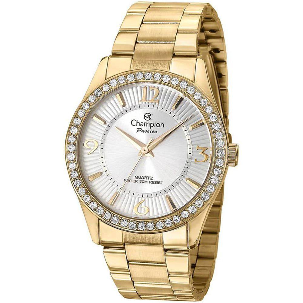 Relógio Champion Feminino Dourado Com Strass Passion CN29365H
