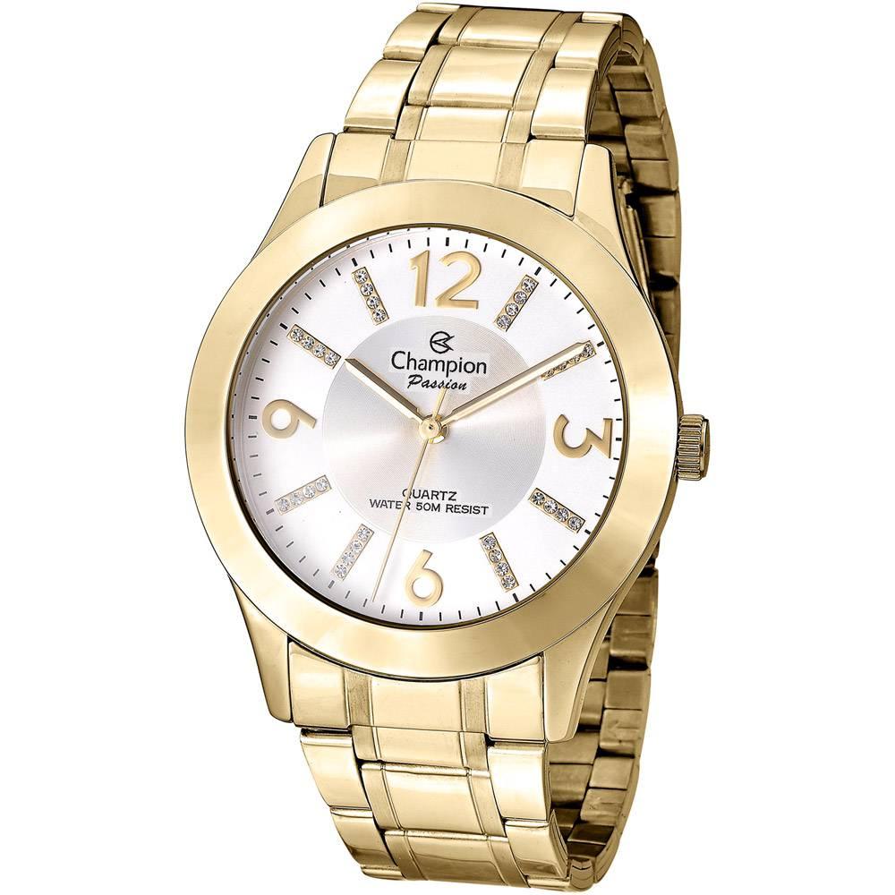 Relógio Champion Feminino Dourado Com Strass Passion CN29418H