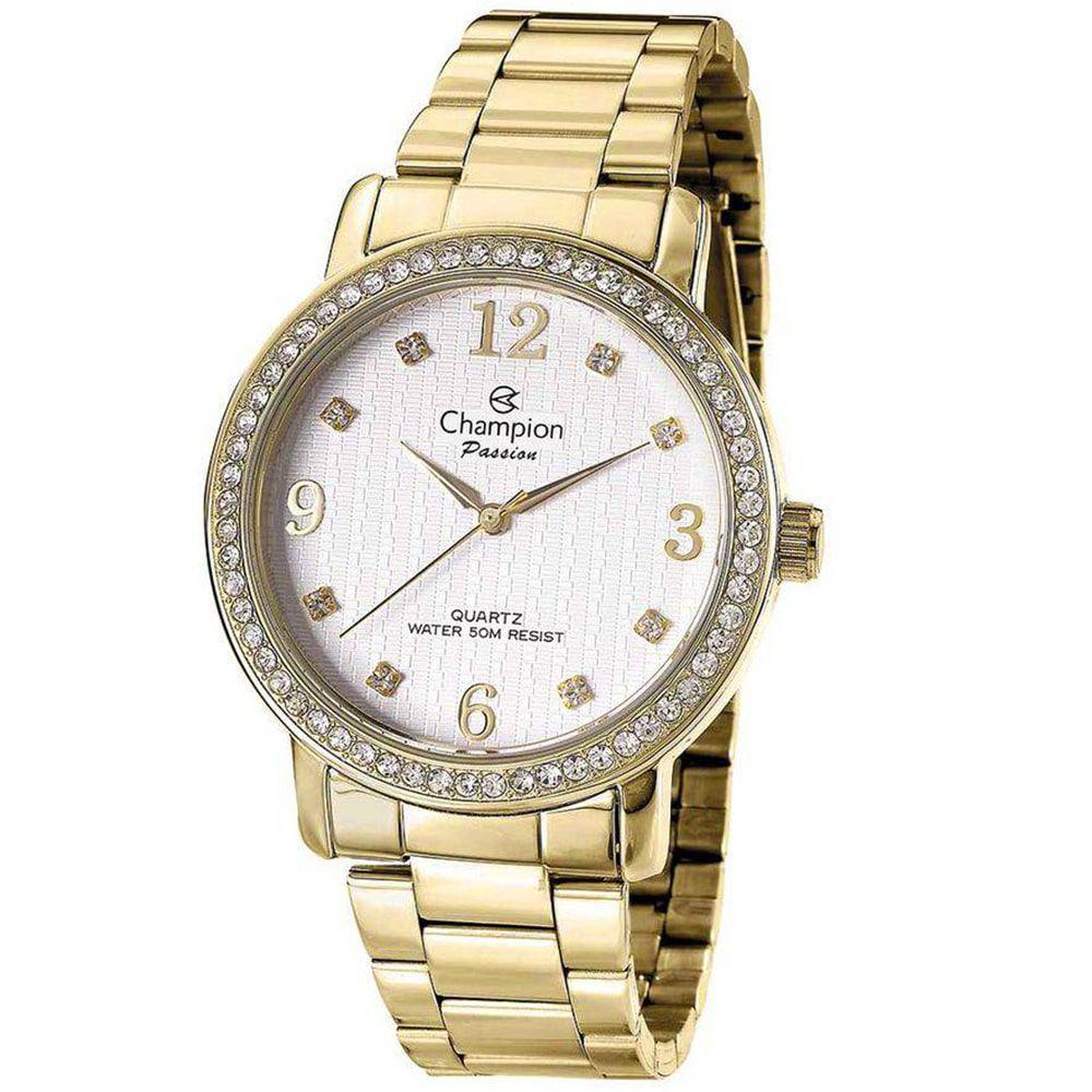 Relógio Champion Feminino Dourado Passion Aro Strass CN29427H