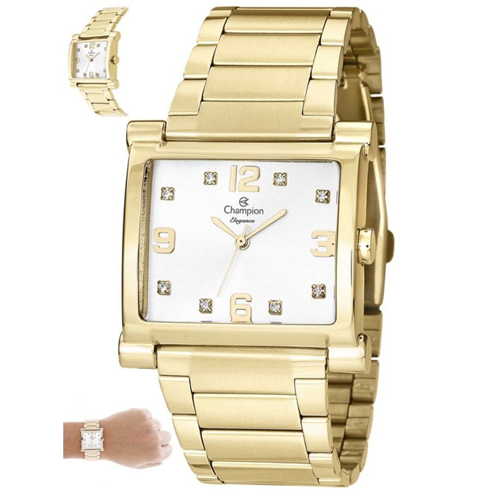 Relógio Champion Feminino Elegance Dourado Quadrado CN26939H