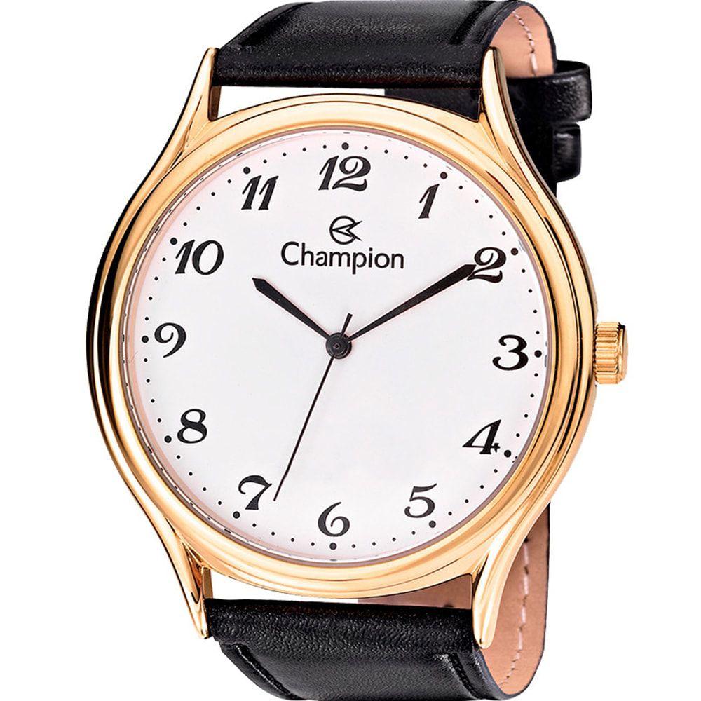Relógio Champion Masculino Dourado e Preto Couro CN20024B