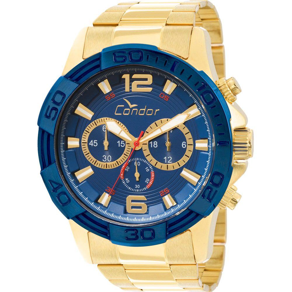 Relógio Condor Masculino Civic Azul e Dourado COVD54AA/4A