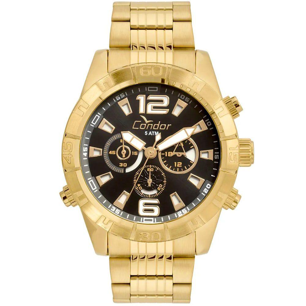 Relógio Condor Masculino Civic Dourado e Preto Cronógrafo COVD54AW/4P