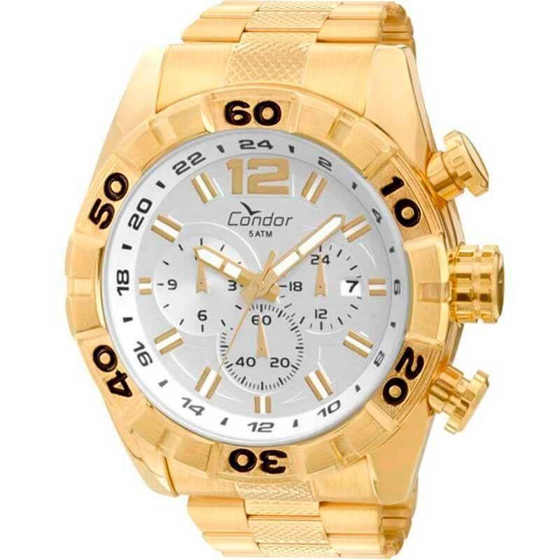 Relógio Condor Masculino Civic Dual Time Dourado COVD33AA/4K