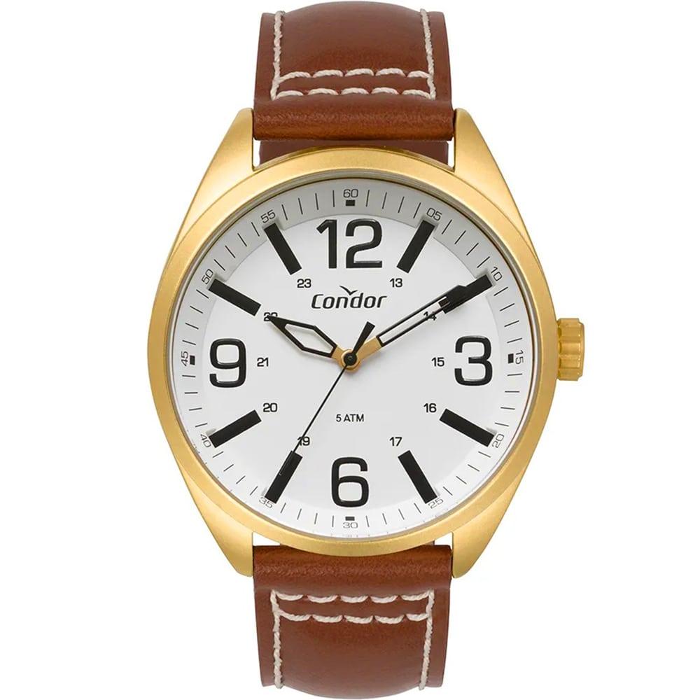 Relógio Condor Masculino Couro Dourado Analógico CO2035MPF/2B