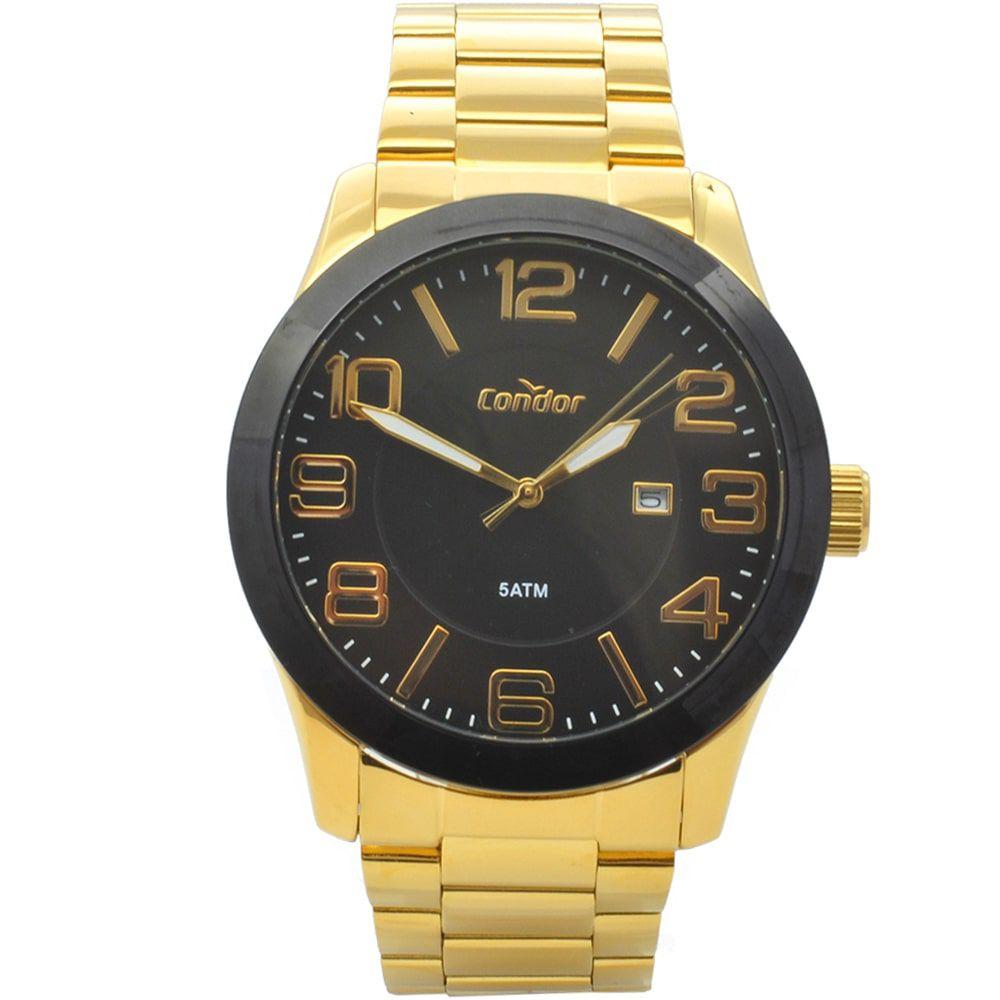 Relógio Condor Masculino Dourado Casual Ouro 18k CO2115KTS/4P