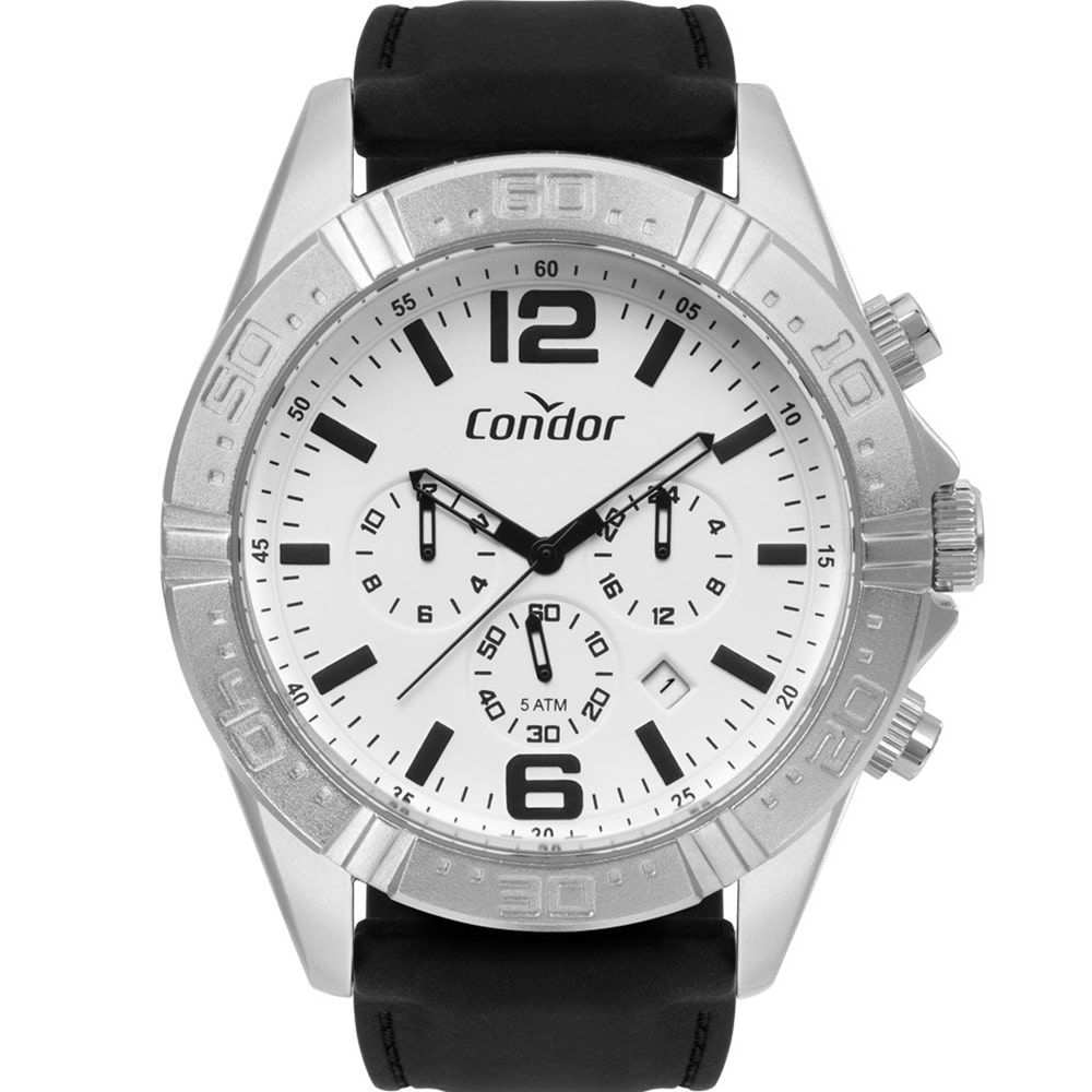 Relógio Condor Masculino Prateado e Preto COVD33A34AB/3C
