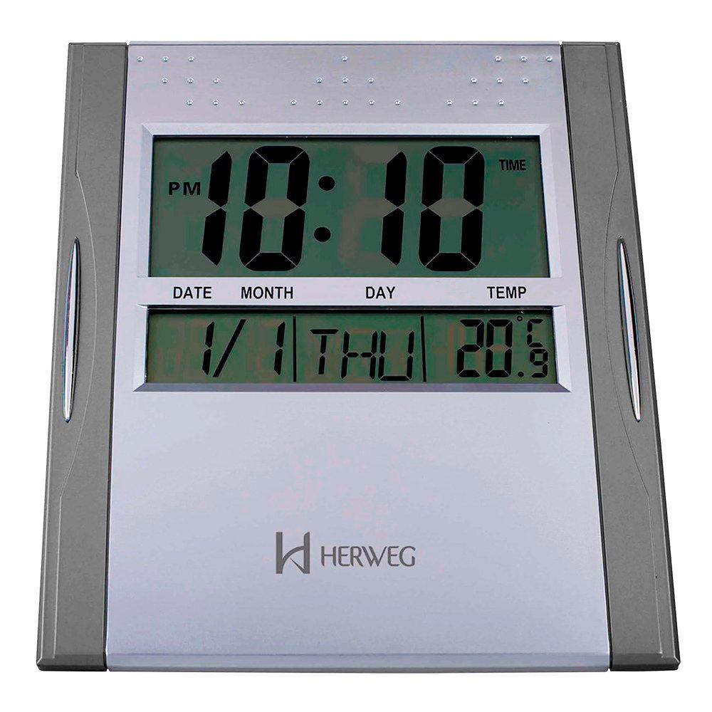 Relógio de Parede com Termômetro Herweg 6474 071 Cinza e de Mesa