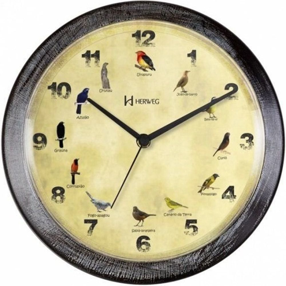 Relógio de Parede Herweg Canto De Pássaros Brasileiros 6658 273