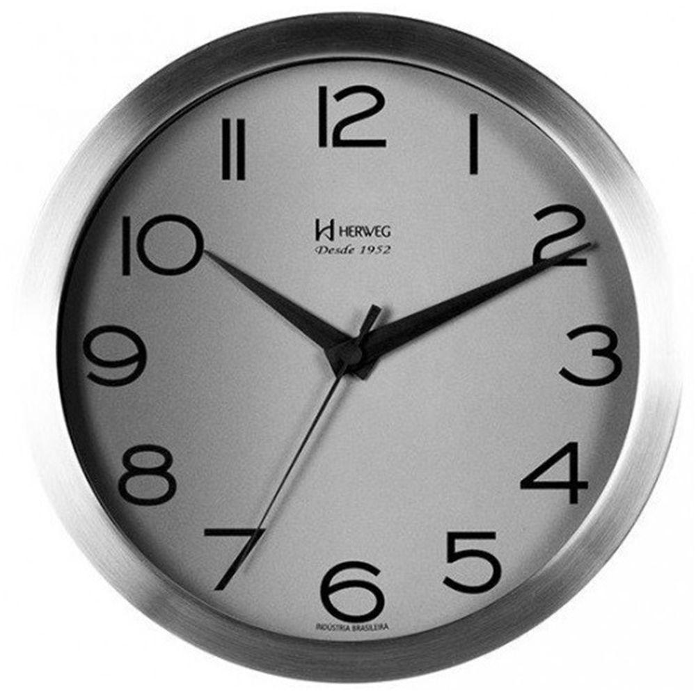Relógio de Parede Herweg Cinza Em Alumínio 6714 079