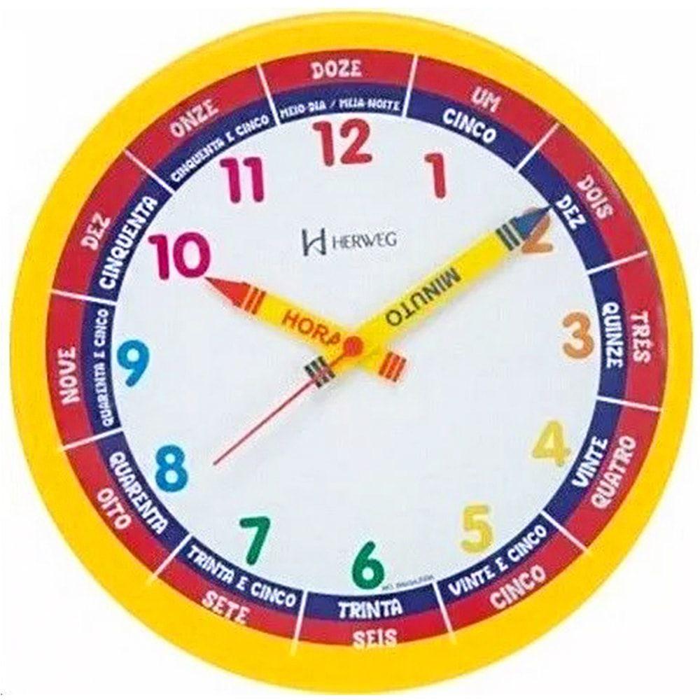 Relógio de Parede Herweg Educativo Didático Infantil Amarelo 6690 268
