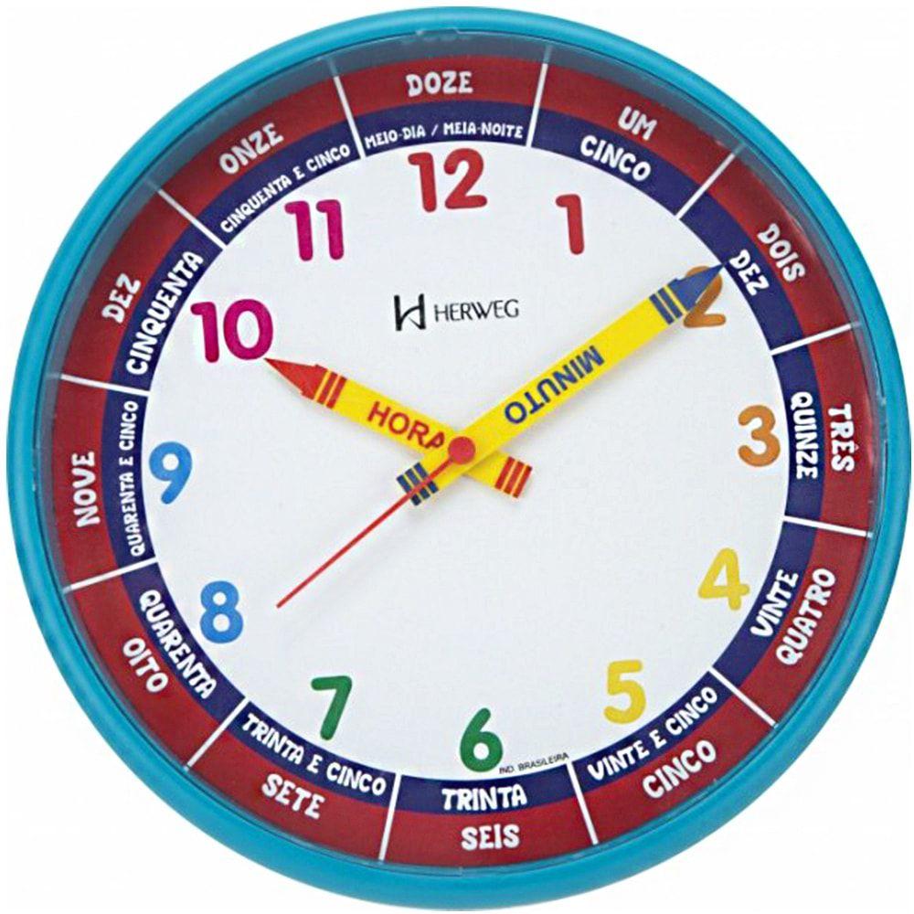Relógio de Parede Herweg Educativo Didático Infantil Azul 6690 267