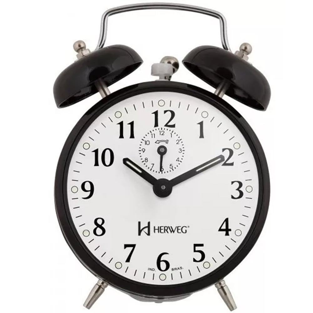 Relógio Despertador Herweg Mecânico Retrô Preto 2208 034