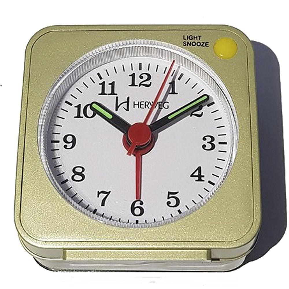Relógio Despertador Herweg Quartz Champagne 2510 067