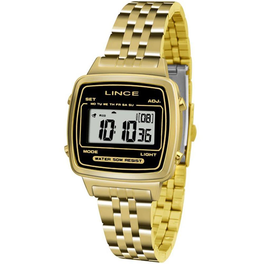 Relógio Lince Feminino Digital Dourado Retrô Quadrado SDPH040L BPKX