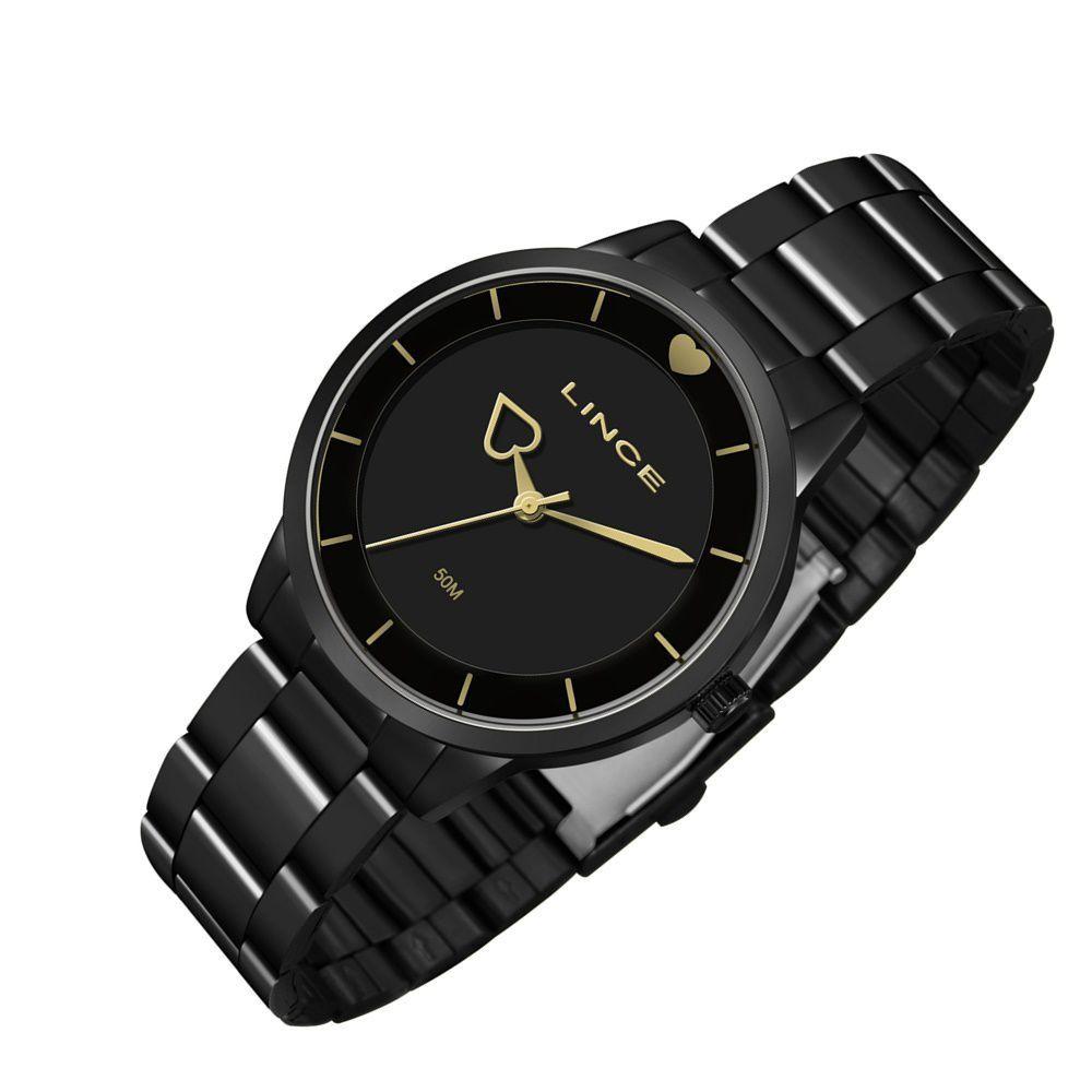 relógio lince feminino preto especificações